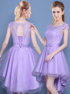 Custom Made Scoop Cap Sleeves Lace Lace Up Damas Dress