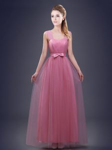 Beauteous Straps Ruching and Bowknot Damas Dress Pink Lace Up Sleeveless Floor Length