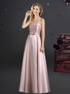 Hot Selling Pink Empire Strapless Sleeveless Elastic Woven Satin Floor Length Zipper Bowknot Vestidos de Damas