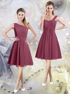 Beauteous Knee Length Burgundy Dama Dress Asymmetric Sleeveless Zipper