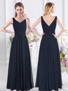 Navy Blue Empire V-neck Sleeveless Chiffon Floor Length Zipper Ruching Damas Dress