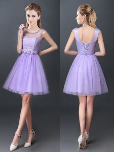 A-line Quinceanera Court Dresses Lavender Scoop Tulle Sleeveless Mini Length Lace Up