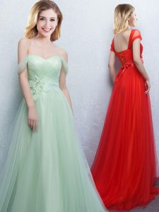 Off the Shoulder Appliques and Ruching Damas Dress Apple Green Lace Up Sleeveless With Brush Train