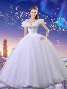 Cinderella Off the Shoulder Tulle Sleeveless Floor Length 15th Birthday Dress and Beading and Bowknot