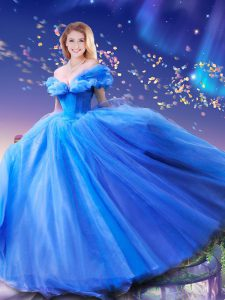 Romantic Cinderella Tulle Off The Shoulder Sleeveless Lace Up Beading and Bowknot Sweet 16 Quinceanera Dress in Royal Blue
