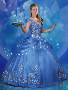 Exquisite Cinderella Blue Vestidos de Quinceanera Sweet 16 and Quinceanera and For with Beading and Embroidery Off The Shoulder Cap Sleeves Lace Up