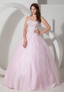Baby Pink Sweetheart Tulle Beaded Quinceanera Gown Dress in Bethlehem PA