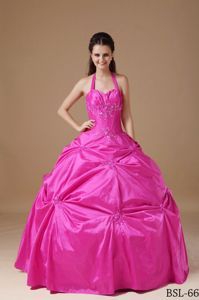 Halter Floor-length Taffeta Chic Quinceanera Dress with Beading in Adelaide