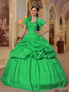 Green Beaded Sweetheart Full-length Quince Dresses with Pick-ups in Erie