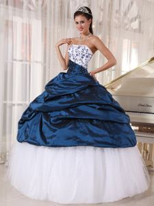 White and Blue Strapless Long Quince Dress with Embroidery and Pick-ups