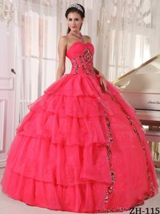 Sweetheart Coral Red Floor-length Quinces Dress with Paillette and Layers
