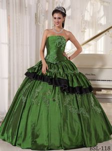 Olive Green Strapless Full-length Quince Dresses with Appliques in Jackson