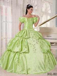 Cute Off The Shoulder Short Sleeves Green Quinces Dress with Embroidery