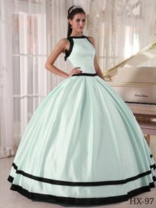 Bateau Apple Green and Black Floor-length Quinceanera Gowns in Addison