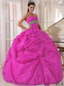 Hot Sale Fuchsia Sweetheart Floor-length Dresses for Quinces with Pick-ups