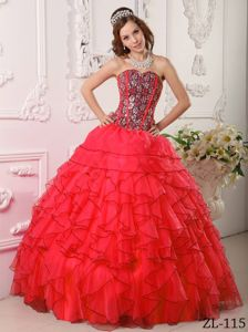 Hot Sale Red Sweetheart Floor-length Sweet 15 Dresses with Ruffle-layers