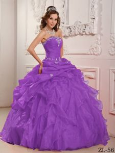 Purple Strapless Full-length Sweet Sixteen Dresses with Beading and Ruffles