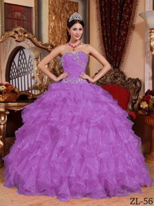 Elegant Purple Beaded Sweetheart Long Quince Dress with Ruffles in Orem