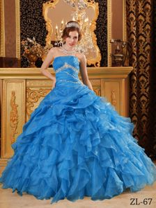 Strapless Blue Floor-length Dress For Quinceanera with Ruffle-layers in Ogden