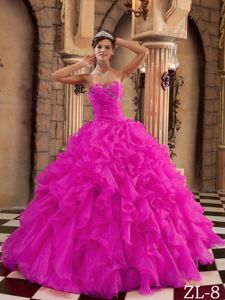 Pretty Beaded Sweetheart Fuchsia Long Quinces Dress with Ruffles in Tyler