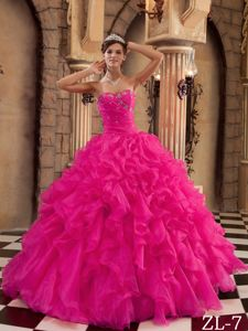 Lovely Hot Pink Beaded Sweetheart Floor-length Quince Dress with Ruffles
