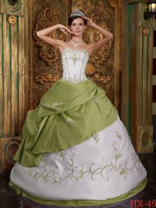 Modest Olive Green Strapless Long Quince Dress with Embroidery in Boise