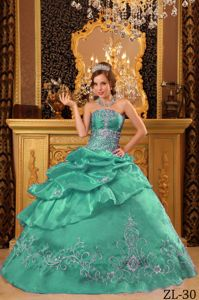 New Green Strapless Full-length Quince Dress with Pick-ups and Appliques