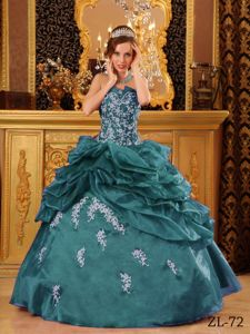 Lace-up Turquoise Long Sweet Sixteen Dresses with Appliques and Pick-ups