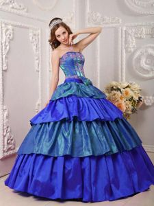 Strapless Multi-color Full-length Quince Dresses with Appliques and Layers