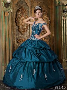 Off The Shoulder Teal Long Dress For Quinceanera with Applique and Pick-ups