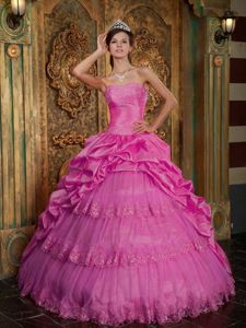 Hot Pink Strapless Long Quinces Dresses with Lace Appliques and Pick-ups