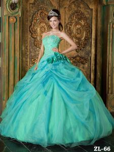 Turquoise Beaded Strapless Long Quinceanera Gowns with Flowers in Erie