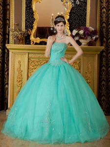 Pretty Strapless Turquoise Floor-length Sweet Sixteen Dresses with Beading