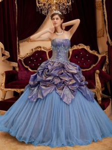 Colorful Strapless Long Quinceaneras Dresses with Pick-ups and Appliques