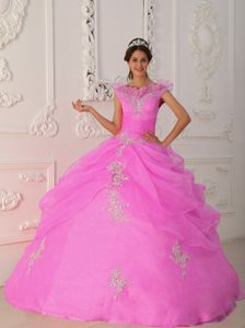 Appliqued Floor-Length Sweet 15 Dress with Pick-up and Cool Neckline in Blainville