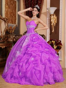 Sweetheart Quinceanera Gown in Fuchsia with Ruffles and Side-Drapping in Toulon