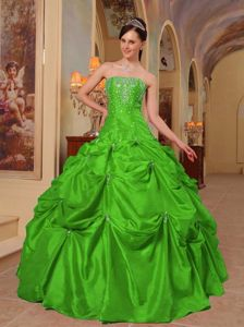 Beaded Strapless Dress for Quince with Pick-ups in Spring Green in Lille
