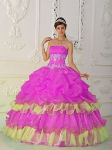 Layered Strapless Floor-Length Quinceanera Dress with Ruffles in Hot Pink in Lyon