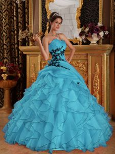 Sweetheart Appliqued Floor-Length Quince Dress with Ruffles in Aqua Blue in L.A.