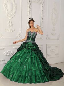 Hunter Green Court Train Quinceanera Dress with Appliques and Pick-ups in Marseille