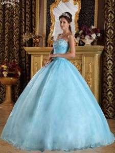 Sweetheart Floor-length Quinceanera Gown Dresses in Aqua Blue with Beading