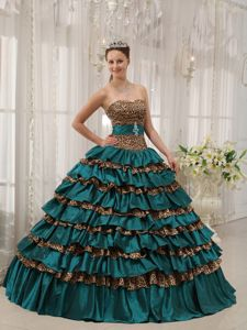 Ruffled Turquoise Sweetheart Princess Quinceanera Gown Dresses in Batesville