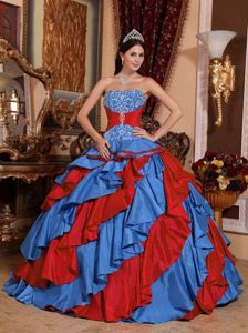 Ruffled Blue and Red Strapless Sweet Sixteen Quinceanera Dress in Bloomington