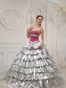 Popular Silver Princess Strapless Sweet Sixteen Dresses with Pick-ups in Fowler