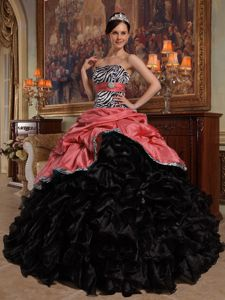 Red and Black Sweetheart Floor-length Sweet 16 Dress with Pick-ups and Ruffles