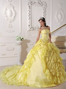 Yellow Strapless Chapel Train Sweet Sixteen Quinceanera Dresses with Pick-ups