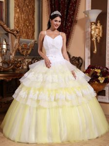 Ruffled Spaghetti Straps Floor-length Light Yellow Quince Dress with Appliques