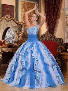 Ruffled Multi-color One Shoulder Quinceanera Gown Dresses in Columbia City