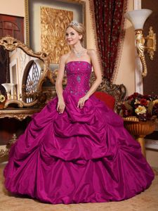 Top Strapless Floor-length Taffeta Quinceanera Dress in Fuchsia with Pick-ups