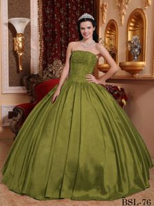 Olive Green Strapless Floor-length Sweet Sixteen Quinceanera Dress with Lace